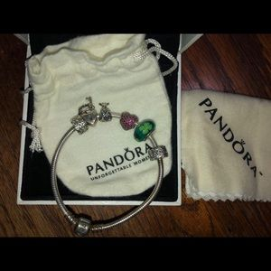 Pandora bracelet with 4 charms included.